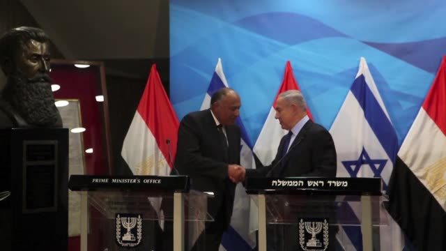 egypts foreign minister met israeli prime minister benjamin netanyahu on sunday on reviving peace efforts with the palestinians the first such visit... - benjamin netanyahu stock videos & royalty-free footage