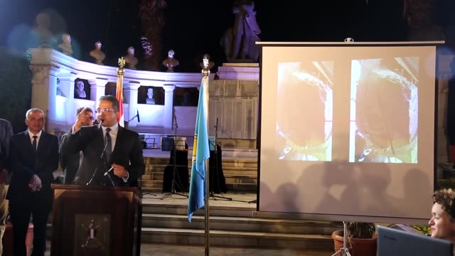 Egypt's Minister of Antiquities Khaled ElEnany delivers a speech during a press conference on the discovery of a pharaoh sculpture in Cairo Egypt on...