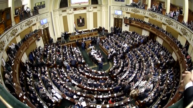 egypt's new parliament convenes its opening session for the first time in more than three years after the previous parliament was dissolved in cairo... - house of representatives stock videos & royalty-free footage