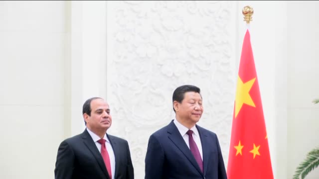 egypt's president abdel fattah elsisi is welcomed by china's president si cinping with official ceremony in beijing china on 23 december 2014 china... - president of egypt stock videos & royalty-free footage