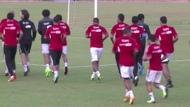 egypts soccer team is practicing ahead of a delicate return game against ghana in cairo on tuesday for the world cup 2014 qualifiers clean soccer... - national team stock videos & royalty-free footage