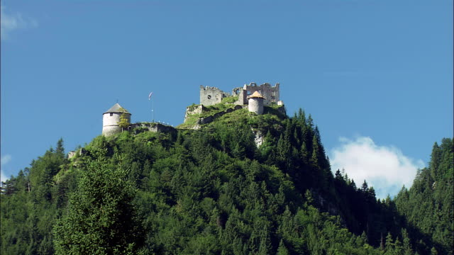 ws la ehrenberg castle ruins on top of mountain against clear sky, tyrol, austria - traditionally austrian stock videos & royalty-free footage
