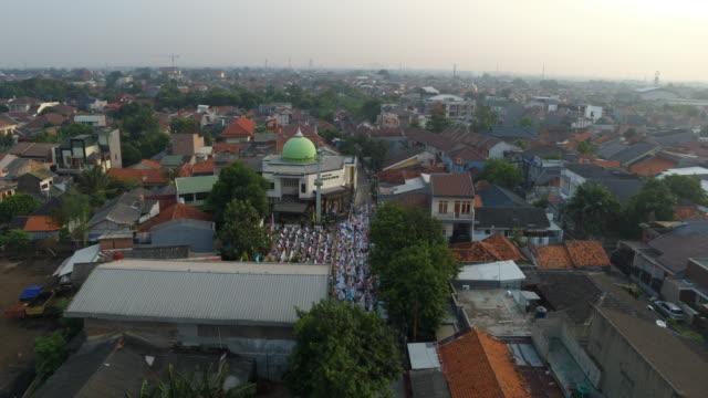 eid al-fitr muslim festival praying - jakarta stock videos & royalty-free footage