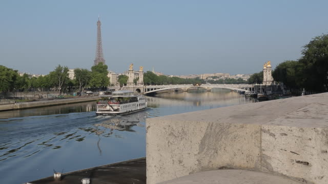Eiffel Tower and Cruiseboat on River Seine, Paris, France, Europe