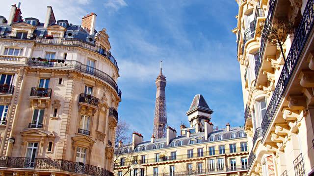 vidéos et rushes de tour eiffel et horizon de paris - monument