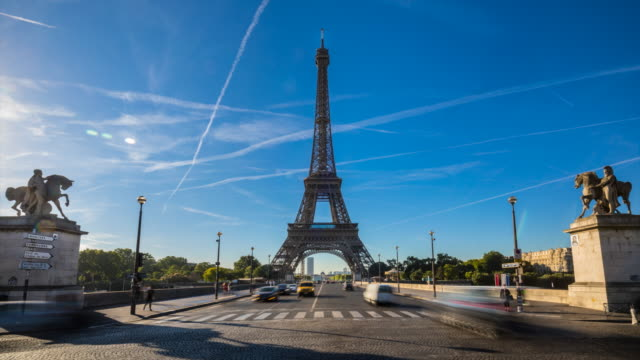 eiffel tower and pont d´elena, tl, ws - tower stock videos & royalty-free footage