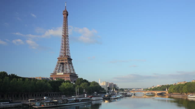 WS Eiffel tower and river Seine seen from Passerelle Debilly at sunrise, Paris, France