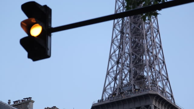 eiffel tower and traffic lights, paris, france, europe - green light stoplight stock videos and b-roll footage