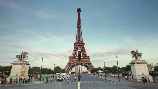 MS Eiffel tower and traffic on Pont d´Iena bridge (dusk) / Paris, Ile-de-France, France