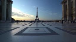 Eiffel tower at dawn in Paris