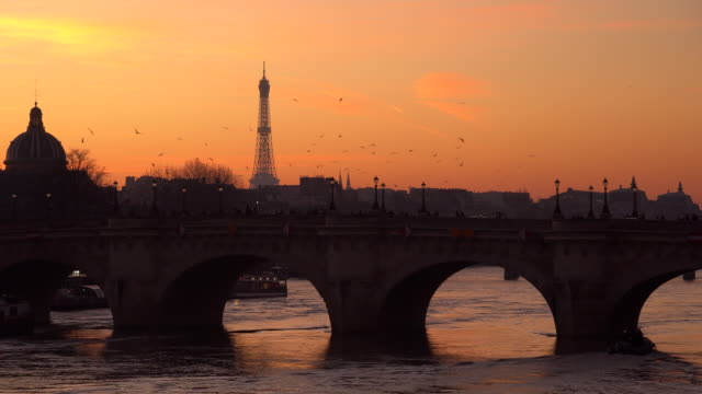 eiffel tower at sunset in winter, paris, france - visit stock videos & royalty-free footage
