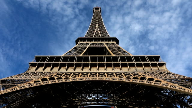 eiffel tower blue sky - eiffel tower stock videos and b-roll footage