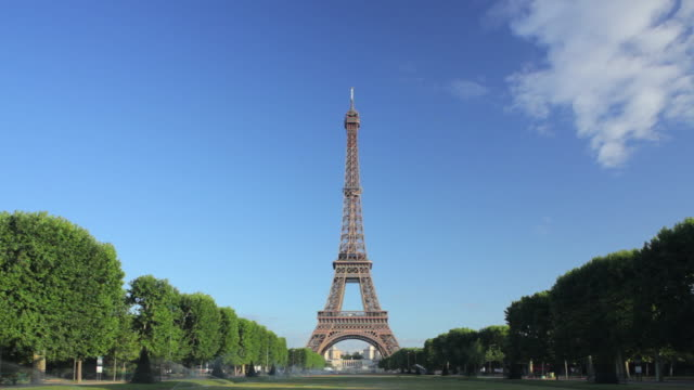 WS Eiffel tower from Champ de Mars at early morning, Paris, France