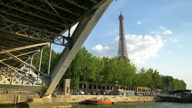 eiffel tower from  sena´s river - tourboat stock videos & royalty-free footage