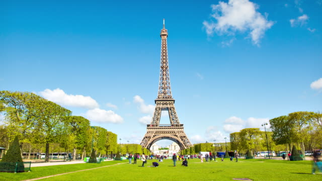 eiffel tower hyper-lapse - paris france stock videos and b-roll footage