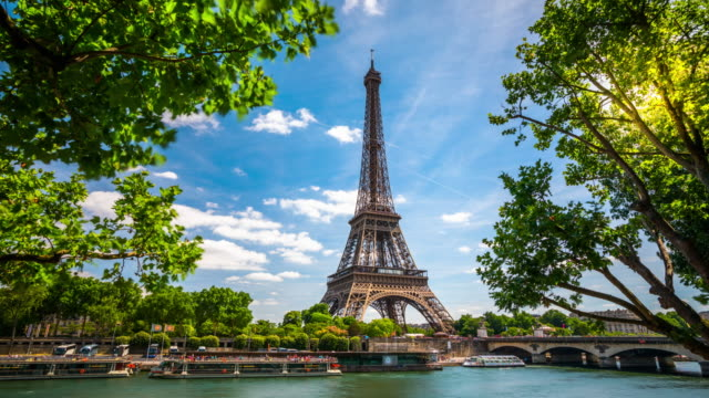 time lapse: eiffel tower in paris - france - eiffel tower stock videos & royalty-free footage