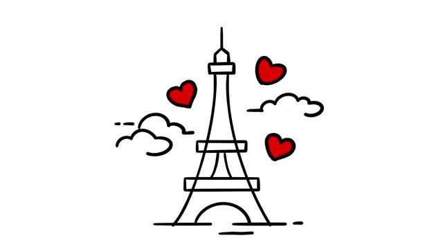 vídeos y material grabado en eventos de stock de torre eiffel animación de amor - ilustración
