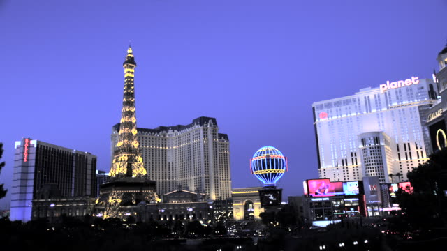eiffel tower of paris hotel and casino, nevada, usa - las vegas replica eiffel tower stock videos and b-roll footage