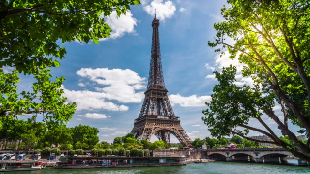 eiffel tower, paris. france - 4k cityscapes, landscapes & establishers - eiffel tower stock videos and b-roll footage