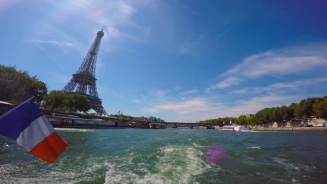 eiffel tower seen from river seine. - river seine stock videos & royalty-free footage
