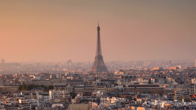 eiffel tower sunrise - paris france stock videos & royalty-free footage