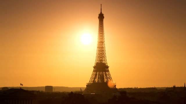eiffel tower sunset - eiffel tower stock videos and b-roll footage