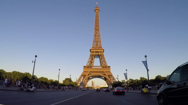 Eiffel Tower tracking vehicle pov. Slow-Motion.