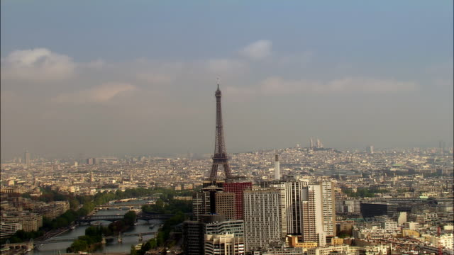 aerial eiffel tower with skyscrapers, ile des cygnes and bridges/ paris, france - pont de grenelle stock videos and b-roll footage
