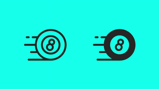 eight ball icons - vector animate - eight ball stock videos & royalty-free footage