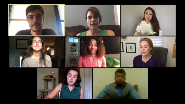 eight colleagues working from home hold a video conference call. - video call stock videos & royalty-free footage