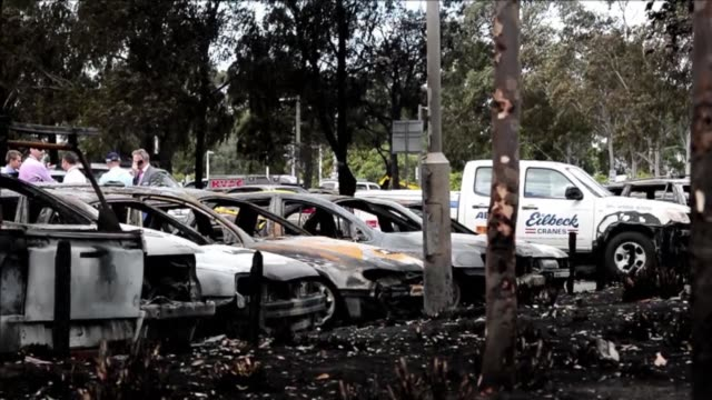 eighty cars are destroyed or badly damaged in a devastating fire at sydneys olympic park which investigators on monday say was likely started by a... - wastepaper bin stock videos & royalty-free footage