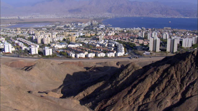 aerial eilat city and gulf of eilat, israel - gulf of aqaba stock videos & royalty-free footage
