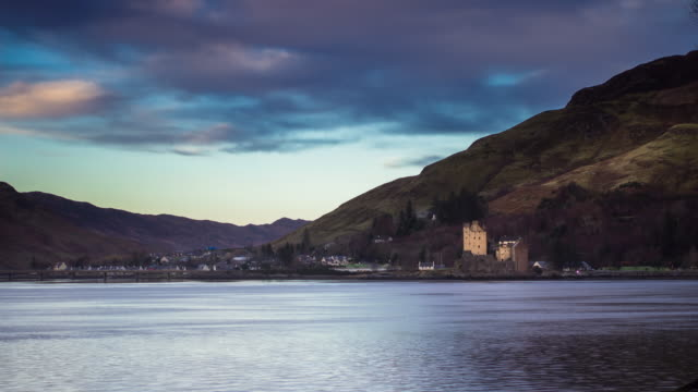 eilean donan castle, scotland - time lapse - dornie stock videos & royalty-free footage