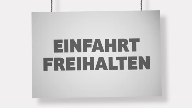 einfahrt freihalten (keep the entrance clear) german cardboard sign hanging from ropes. alpha channel will be included when downloading the 4k apple prores 4444 file only - entrance sign stock videos & royalty-free footage