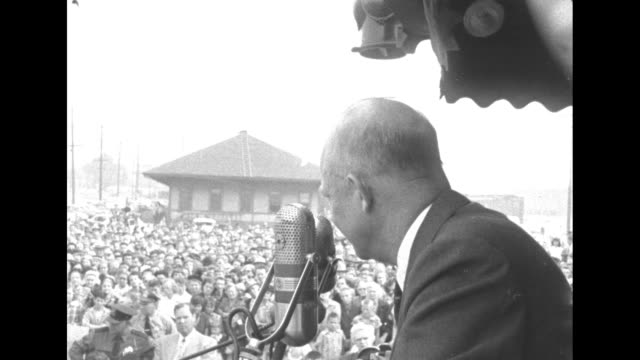 eisenhower at a whistle stop speech in portland oregon says that a stronger us is needed to lead the world - 1952 stock videos & royalty-free footage