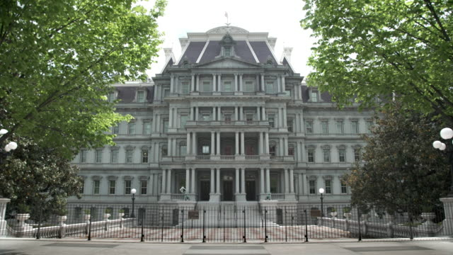 eisenhower executive office building - white house west in 4k/uhd - donald trump us president stock videos and b-roll footage