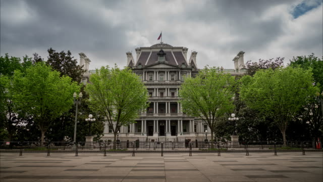 eisenhower executive office building - white house west wing in 4k/uhd - lobby stock videos & royalty-free footage