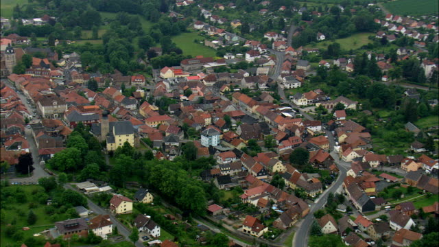 eisfeld and castle  - aerial view - thuringia,  germany - turingia video stock e b–roll