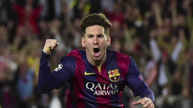 el barcelona con doblete de lionel messi y un gol de neymar derroto 30 en casa al bayern de munich de josep guardiola - neymar da silva stock-videos und b-roll-filmmaterial