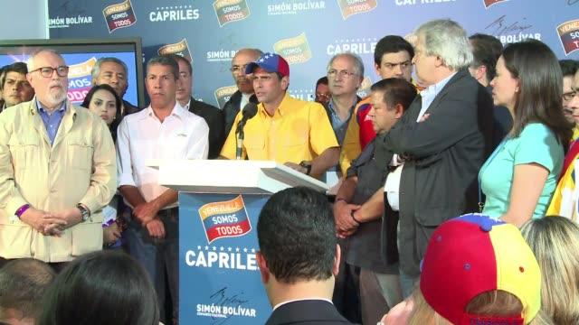 el candidato opositor henrique capriles pidio la revision frente al pais y frente al mundo de los votos y dijo que el gran derrotado en los comicios... - estrecho stock videos and b-roll footage