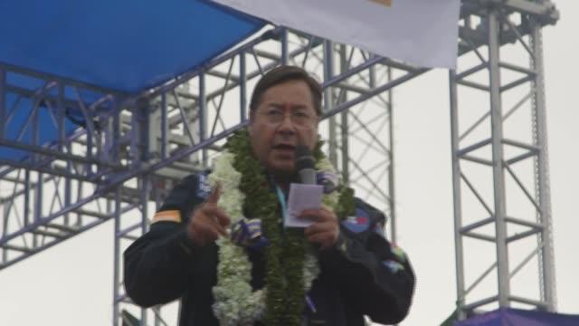 vídeos y material grabado en eventos de stock de el candidato presidencial izquierdista luis arce cerró el miércoles su campaña electoral para los comicios del domingo en bolivia un día después de... - domingo