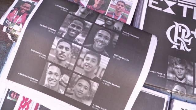 el club de futbol brasileno flamengo identifico los cuerpos de los 10 adolescentes que murieron en el incendio que el viernes devasto un centro de... - luto stock videos and b-roll footage