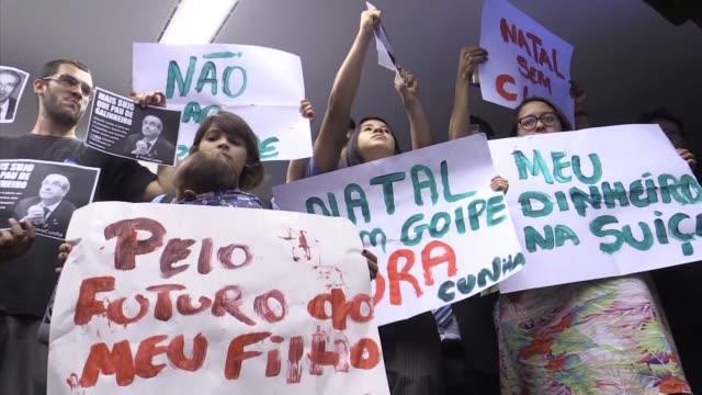 el comite de etica del congreso brasileno debate si abrira una investigacion contra su presidente eduardo cunha - congreso stock videos and b-roll footage