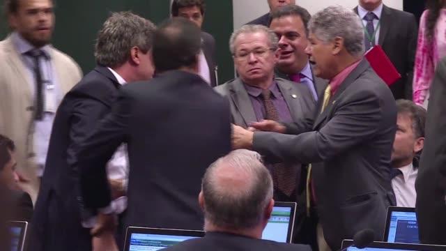 el congreso brasileno sigue agitado sobre todo en la comision de etica de la camara donde los diputados debaten si inician un proceso contra su... - congreso stock videos and b-roll footage