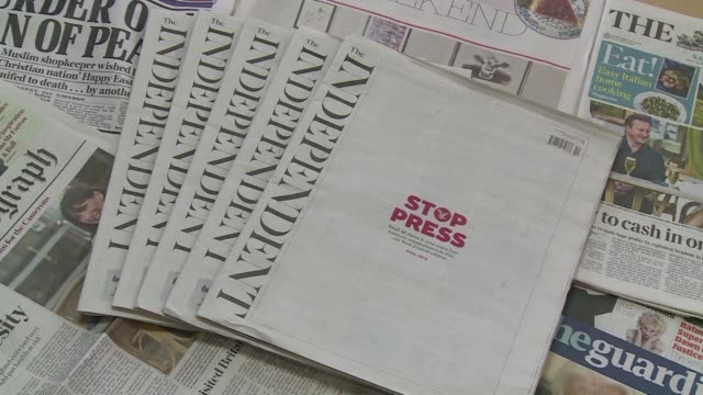 el diario britanico the independent publico este sabado su ultima edicion impresa para pasar a apostar exclusivamente por una version digital tras la... - diario stock videos and b-roll footage
