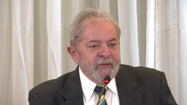 el expresidente brasileno luiz inacio lula da silva manifesto pesar por la posible salida del centrista pmdb de la coalicion de gobierno de dilma... - tristeza stock videos and b-roll footage