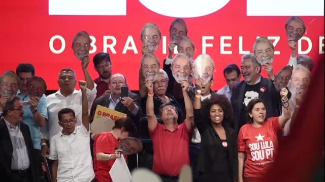 vídeos y material grabado en eventos de stock de el expresidente de brasil luiz inacio lula da silva preso desde abril afirmo que llevara su candidatura hasta las ultimas consecuencias en un mensaje... - llevar