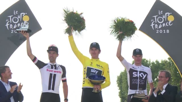 el gales geraint thomas se consagro campeon del tour de francia que termino el domingo - tour de france stock videos & royalty-free footage