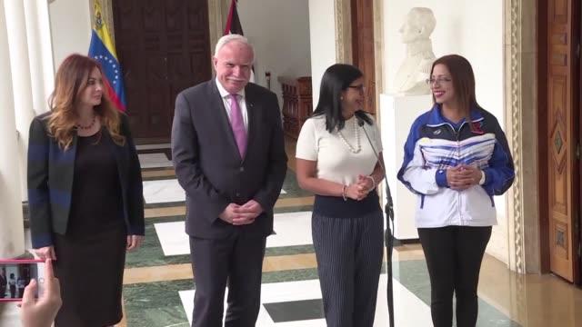 el gobierno venezolano expreso el miercoles al canciller palestino riad malki de visita en caracas su respaldo ante la decision estadounidense de... - palestina stock videos and b-roll footage