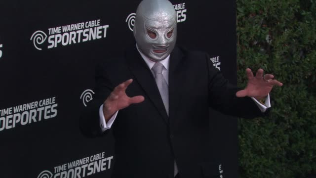 el hijo del santo at time warner sports celebrates launch of time warner cable sportsnet and time warner cable deportes networks on 10/1/2012 in el... - el segundo stock videos & royalty-free footage